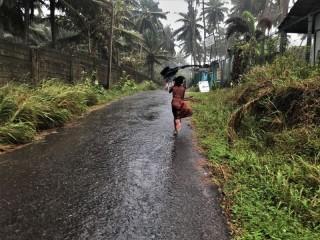 Fluchtversuch vor dem Regen