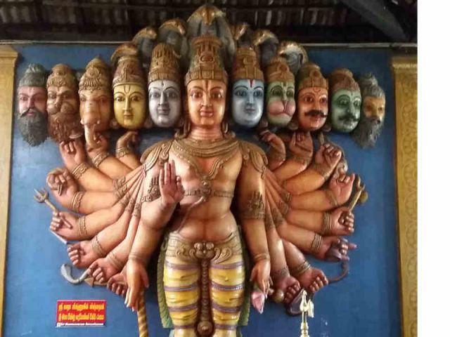 Auf dem Bild sieht man die Gottheit Vishnu
