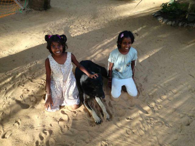 Man sieht Achini und Sachini gemeinsam mit unserem Hund im Sand sitzend.